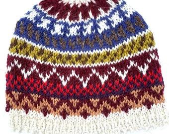 Hand knit Fair Isle Hat