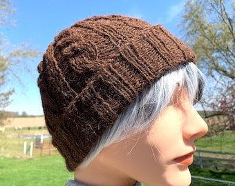 Cabled Alpaca Hat, Handknit Beanie with Rolled Brim