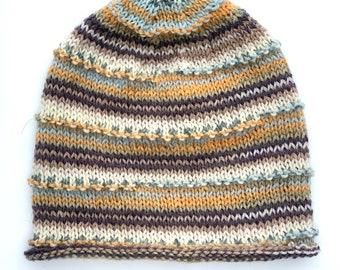 Lightweight HandKnit Striped Hat