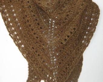 Brown Alpaca Scarf , Hand Knit Wool Triangle Scarf,  Suri Alpaca Shawl