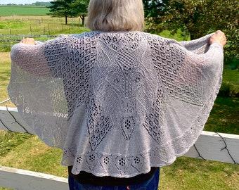 Original Hand knit Lace Wolf Shawl by Designer Sharon Winsauer