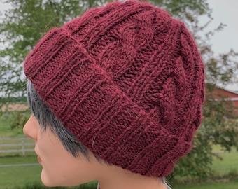 Burgundy Cabled Alpaca Hat, Handknit Beanie with Rolled Brim
