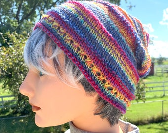 Hand knit Wool and Alpaca Striped Hat