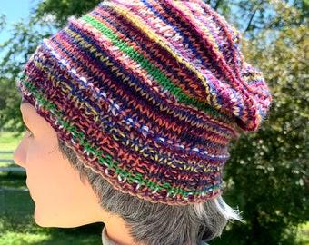 Lightweight Knit Striped Handknit Slouchy Hat