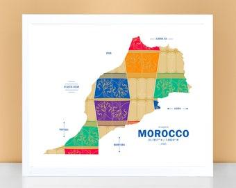 Morocco Map Print Poster
