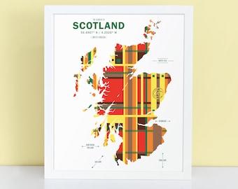 Scotland Map Print Poster