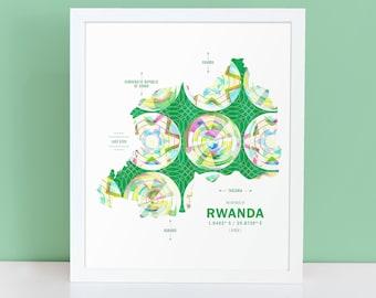 Rwanda Map Print Poster