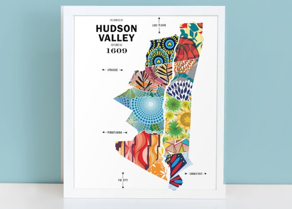 Hudson Valley New York Map.Hudson Valley City Map Print Etsy