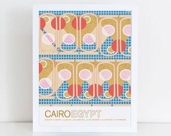 Custom  24cm x 18cm Cairo, Egypt travel poster