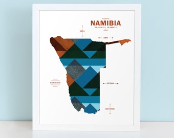 Namibia Map Print Poster