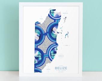 Belize Map Print Poster