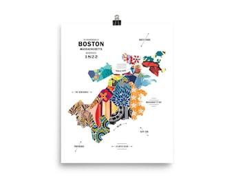 Boston, Massachusetts City Map Print Travel Poster