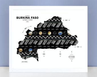 Burkina Faso Map Print Poster