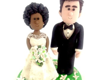Interracial cake topper-Custom Cake Wedding for Mixed Race | Etsy