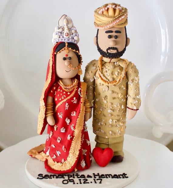 Indian Pakistani Sikh Hindu Wedding Cake Topper Lehenga Etsy