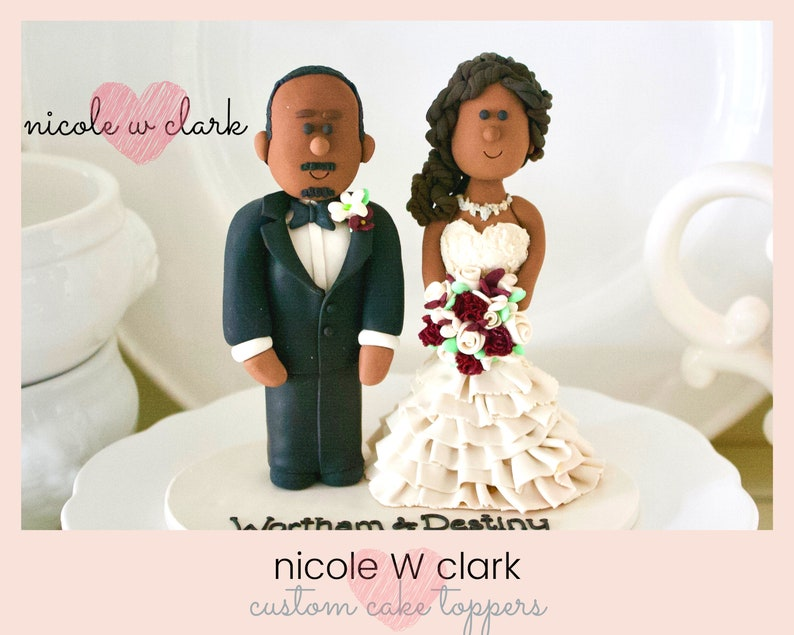 African American Wedding.African American Wedding Cake Topper Custom Wedding Cake Topper Couple Handmade African Bride And Groom Toppers Personalized Wedding Gift