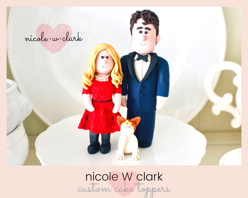 Wedding Cake Toppers Red Dress Wedding Cake Topper Personalized Bride And Groom Figures Cartoon Wedding Topper Topper Figurines Clay Topper
