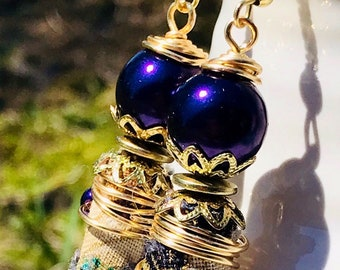 Handmade Earrings, Boho Earrings, Boho Fabric Earrings, Fabric earrings, purple earrings, dangle earrings, dangle and drop earrings, earring