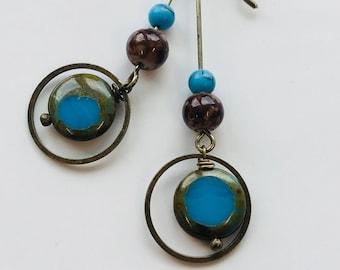 Jewelry gift for her, handmade earrings, blue earrings, glass earrings, coin bead earrings, dangle and drop earrings, everyday earrings