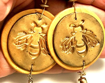 Queen Bee Earrings, Gold earrings, Polymer Clay earrings, Bee earrings, Gift for her, handmade earrings,  Dangle and Drop earrings