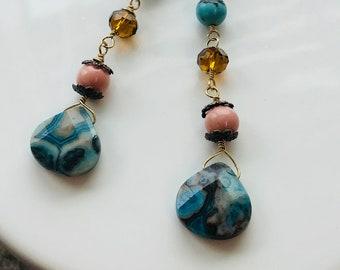 Blue Earrings, briolette earrings, gemstone earrings, handmade earrings, wire-wrapped earrings, mothers day gift, earring, PinkIce Jewels