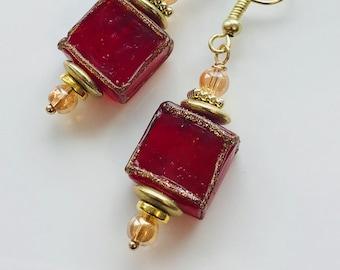 Red earrings, Venetian Earrings, Venetian glass earrings, square. glass, handmade earrings, dangle earrings, pinkicejewels, item# 612729807