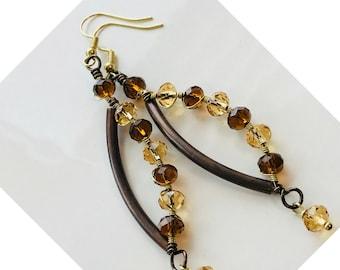 Wire earrings, metal earrings, wire wrapped earrings, crystal earrings, glass earrings, handmade earrings, dangle earrings, pinkicejewels