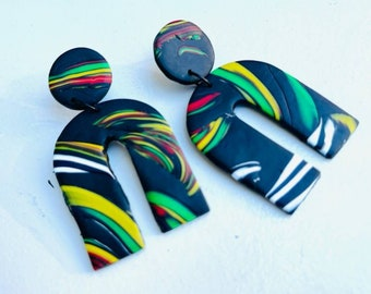 Juneteenth Jewelry, beaded earrings, ethnic jewelry, african colors, handmade jewelry, african pride, Polymer clay jewelry