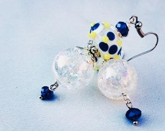 Bumpy beads, clear earrings, lampwork earrings, lampwork bead earrings, glass earrings, clear glass earrings, cute earrings, item# 628299784