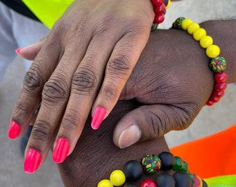 Juneteenth Bracelets, mens jewelry, beaded bracelets, ethnic jewelry, african colors, handmade jewelry, african pride, stretch bracelets