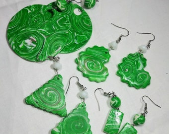 Green earrings, polymer clay earrings, circle earrings, heart earrings, triangle earrings