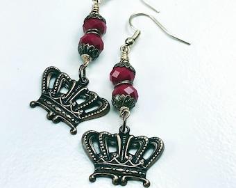Earrings on sale, Crown earrings, red earrings, rondelle earrings, brass earrings, rondelle earrings, handcrafted jewelry, item# 662553013