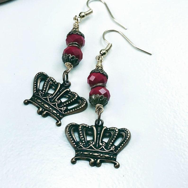 Earrings on sale Crown earrings red earrings rondelle image 0