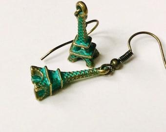 Eiffel Tower, green earrings, metal jewelry, Paris France, patina earrings, brass earrings, handmade earrings, metal charm beads, item#T1902