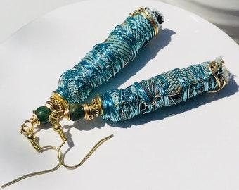 Boho earrings, Jewelry gift for her, Mothers Day, handmade earrings, dangle and drop earrings, fabric earrings, blue earrings, boho jewelry