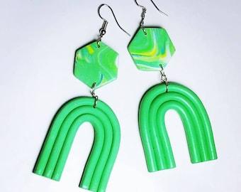 Rainbow earrings, green handmade earrings, polymer clay earrings, everyday earrings earrings