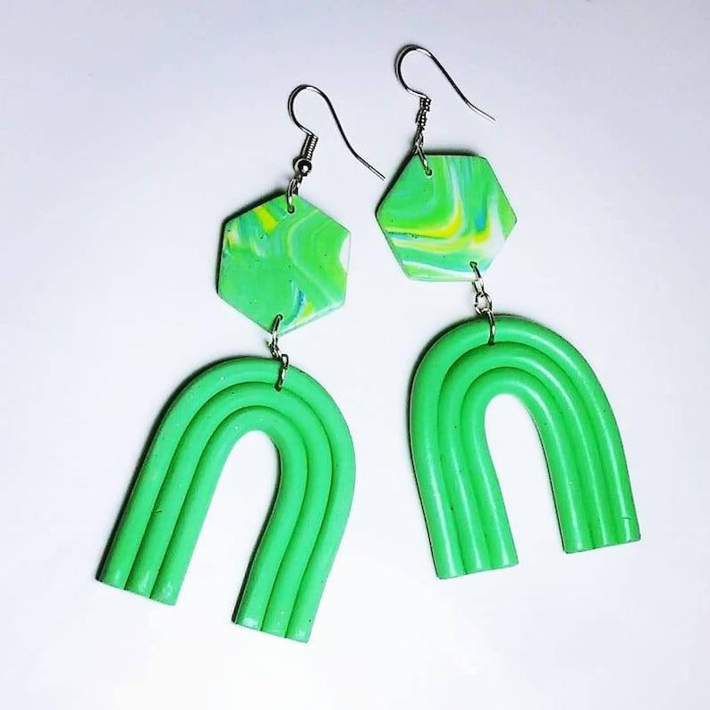 Rainbow earrings green handmade earrings polymer clay image 0