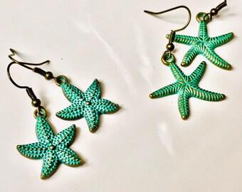 Starfish earrings, metal jewelry, beach jewelry, sea jewelry, patina earrings, brass earrings, handmade earrings, metal bead, item# T1901