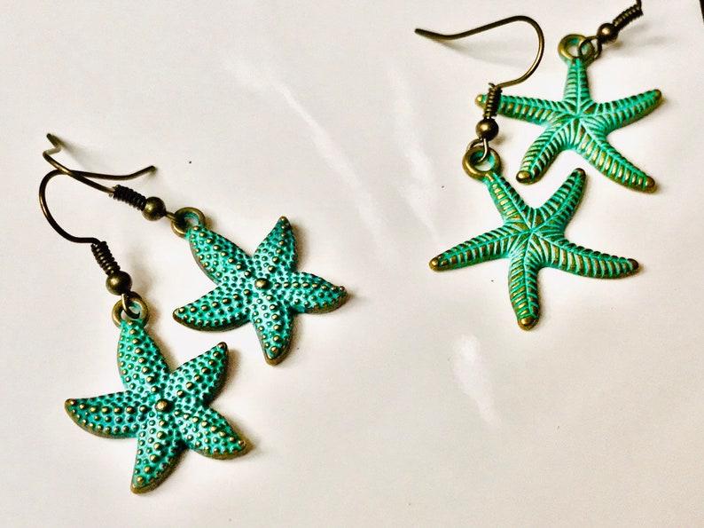 Starfish earrings metal jewelry beach jewelry sea jewelry image 0