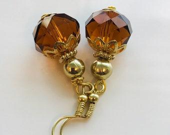 Crystal earrings, brown earrings, handcrafted jewelry, glass earrings, elegant earrings, cute earrings, rondelle earrings, item# 594858536