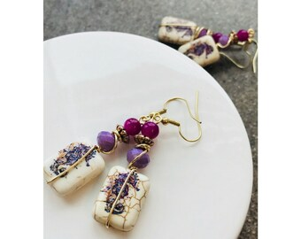 On sale earrings, Handmade earrings, purple earrings, eclectic earrings, square earrings, seahorse earrings, Pinkice Jewels, item# 600221711