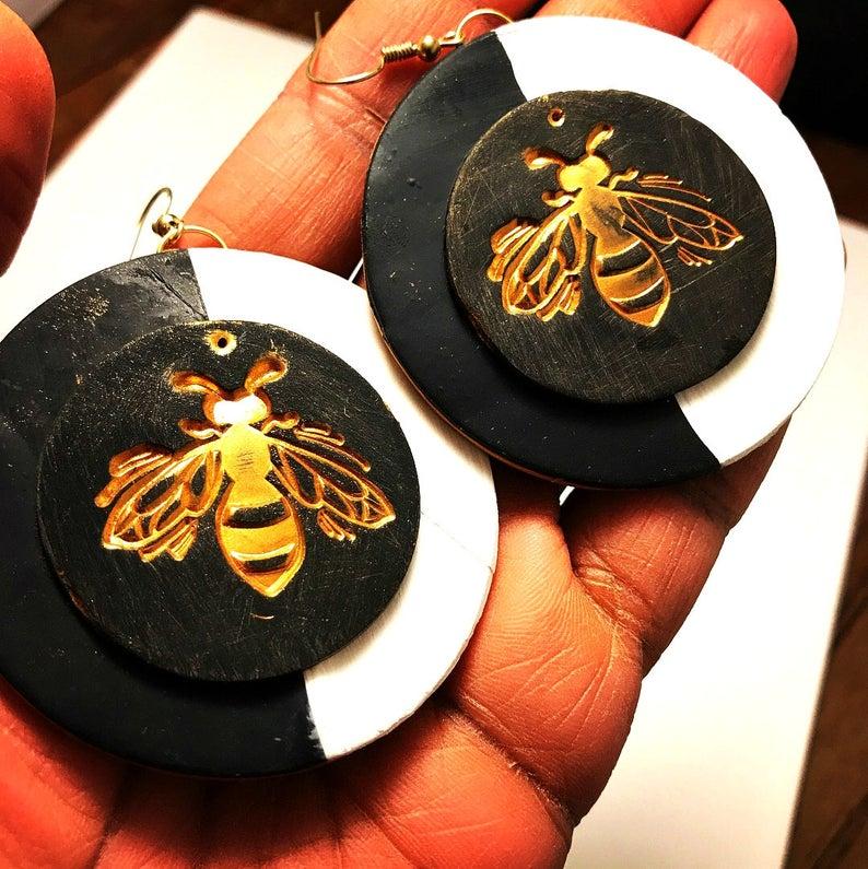 Queen Bee Earrings Gold earrings Polymer Clay earrings Bee image 0