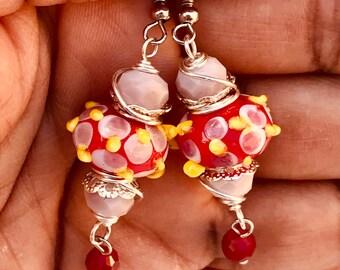 Bumpy beads, red earrings, red lampwork earrings, red glass earrings, cute earrings, lampwork earrings, pinkicejewels, item# 642131741