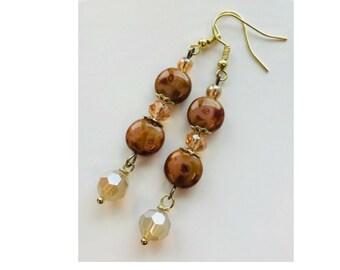 Brown earrings, Dangle earrings, handcrafted earrings, glass earrings, Czech earrings, pinkicejewels, On sale earrings, item# 586430784