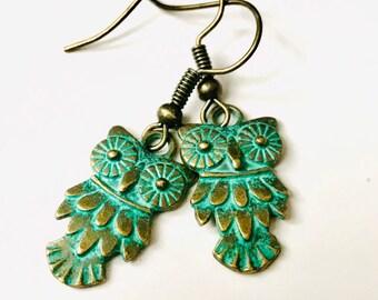 Owl earrings, green earrings, metal jewelry, forest jewelry, patina earrings, handmade earrings, metal charm beads, item#T1903
