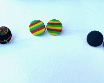 Post Polymer clay earrings, Juneteenth Jewelry, beaded earrings, ethnic jewelry, unique earrings, handmade jewelry, set of three, 3 post