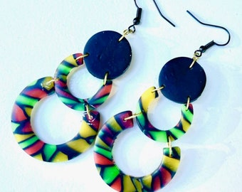 Polymer clay earrings, Juneteenth Jewelry, beaded earrings, ethnic jewelry, circle tier earrings, handmade jewelry, african pride