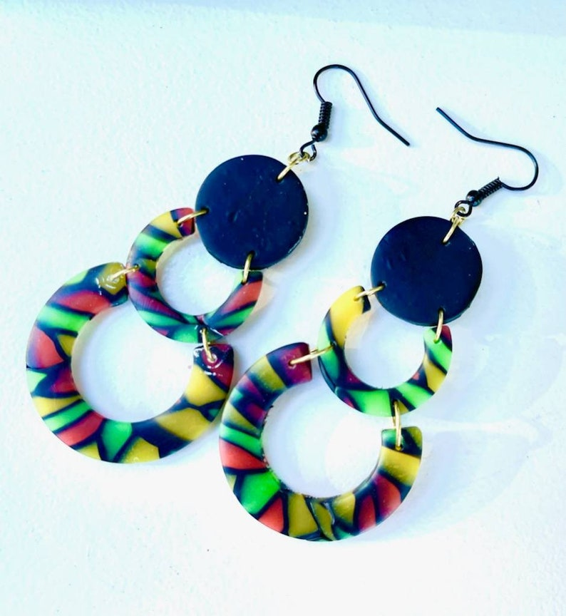 Polymer clay earrings Juneteenth Jewelry beaded earrings image 0