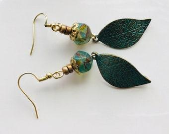 Metal earrings, boho earrings, handcrafted jewelry, green earrings, Czech earrings, drop earrings, leaf earrings, mothers day gift