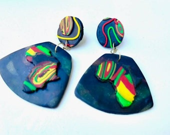 Handmade jewelry, african pride, Polymer clay jewelry, Juneteenth Jewelry, beaded earrings , ethnic jewelry, african colors